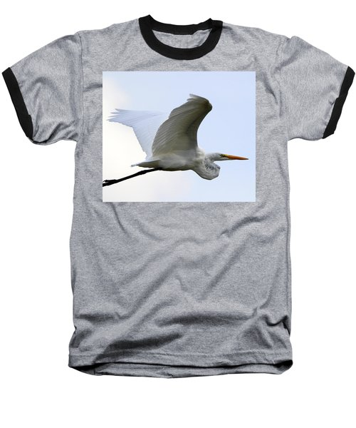 Great Egret Port Jefferson New York Baseball T-Shirt by Bob Savage