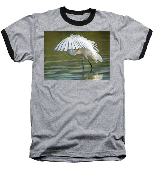 Great Egret Preening 8821-102317-2 Baseball T-Shirt