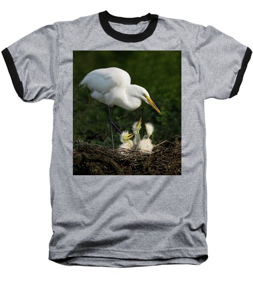 Great Egret With Chicks Baseball T-Shirt