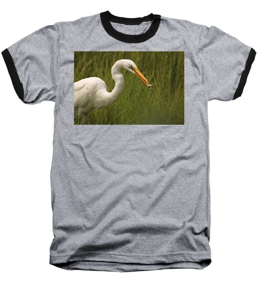 Great Egret With Lunch Baseball T-Shirt