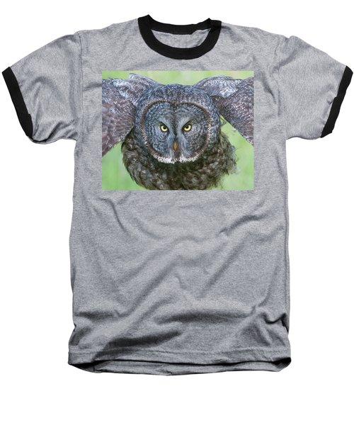 Great Gray Owl Flight Portrait Baseball T-Shirt