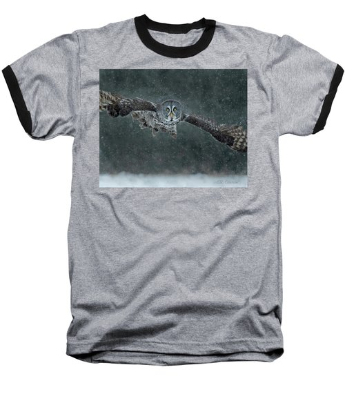 Great Gray Wintery Flight Baseball T-Shirt by CR Courson