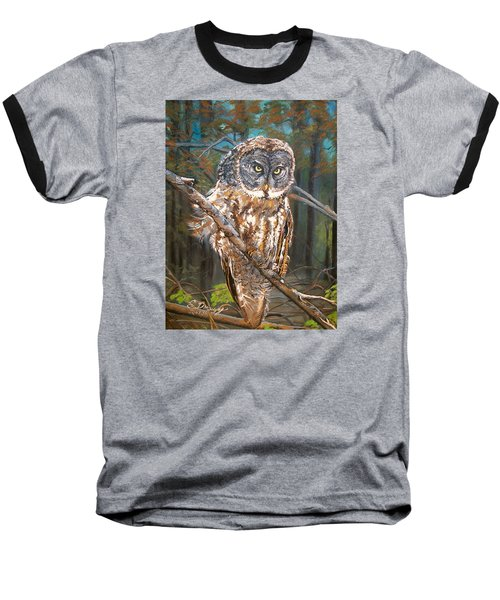 Baseball T-Shirt featuring the painting Great Grey Owl 2 by Sharon Duguay