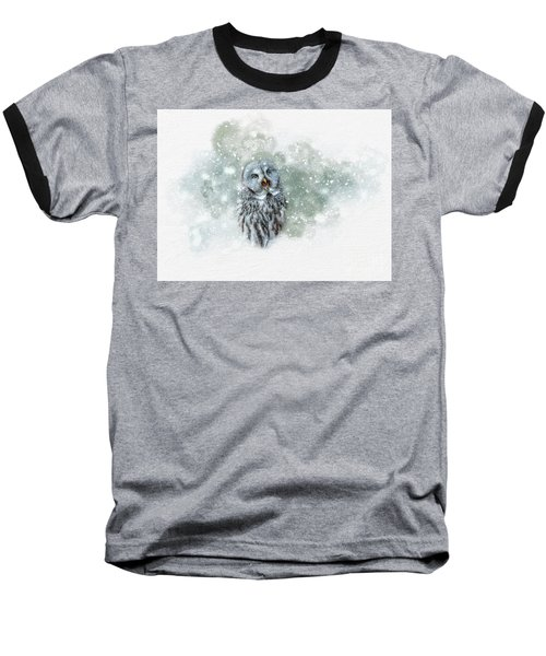 Great Grey Owl In Snowstorm Baseball T-Shirt