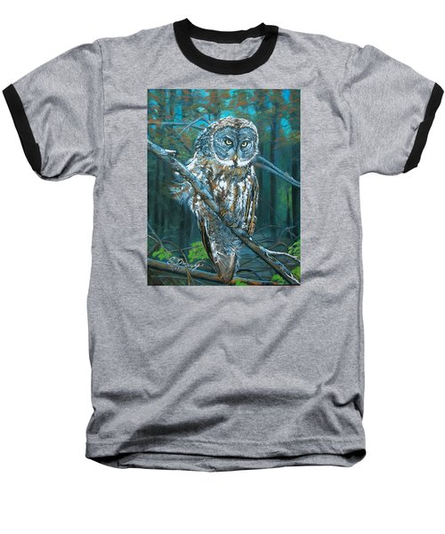 Baseball T-Shirt featuring the painting Great Grey Owl by Sharon Duguay