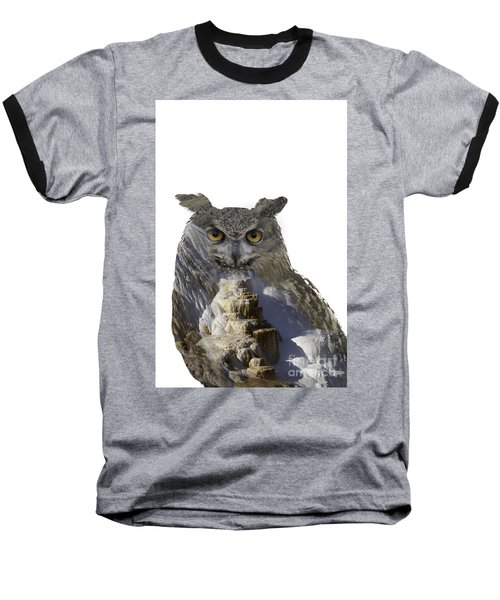 Great Horned Owl And Mammoth Hot Springs Baseball T-Shirt