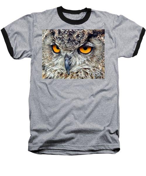 Great Horned Owl Closeup Baseball T-Shirt by Jim Fitzpatrick