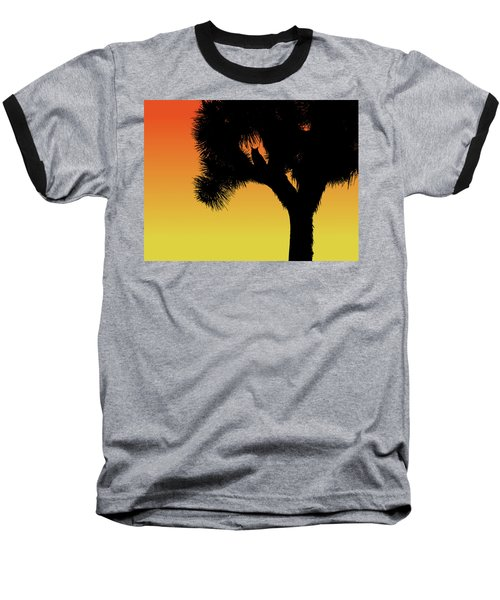 Great Horned Owl In A Joshua Tree Silhouette At Sunset Baseball T-Shirt
