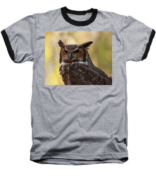 Great Horned Owl In A Tree 1 Baseball T-Shirt by Chris Flees