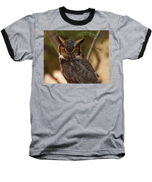 Great Horned Owl In A Tree 2 Baseball T-Shirt by Chris Flees