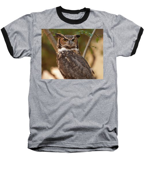 Baseball T-Shirt featuring the photograph Great Horned Owl In A Tree 3 by Chris Flees