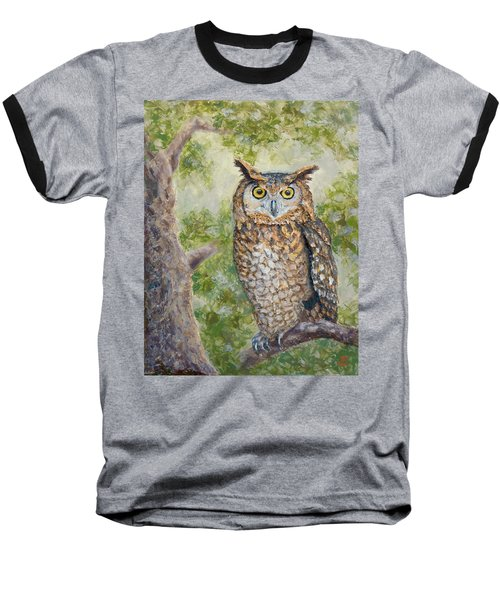 Baseball T-Shirt featuring the painting Great Horned Owl by Joe Bergholm