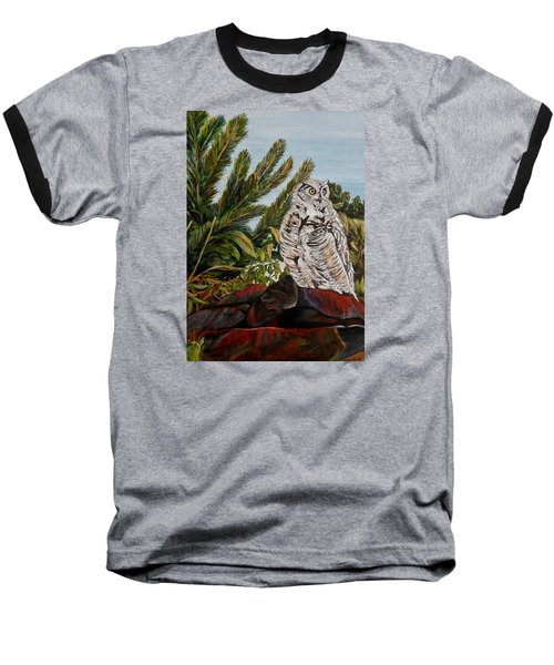 Baseball T-Shirt featuring the painting Great Horned Owl - Owl On The Rocks by Marilyn  McNish