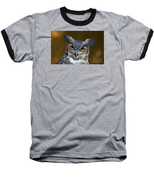 Great Horned Owl Portrait Baseball T-Shirt