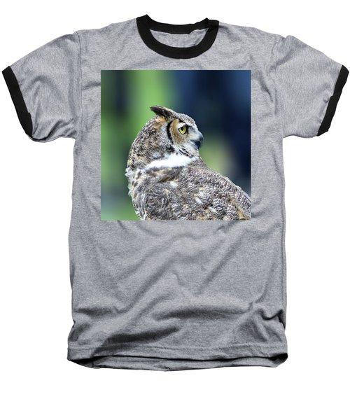 Great Horned Owl Profile Baseball T-Shirt