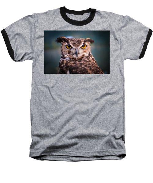 Great Horned Owl Baseball T-Shirt by Ralph Vazquez