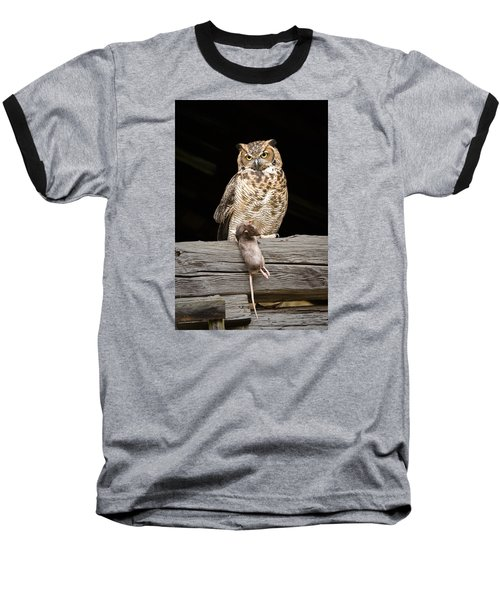 Great Horned Owl With Dinner Baseball T-Shirt by Tyson and Kathy Smith