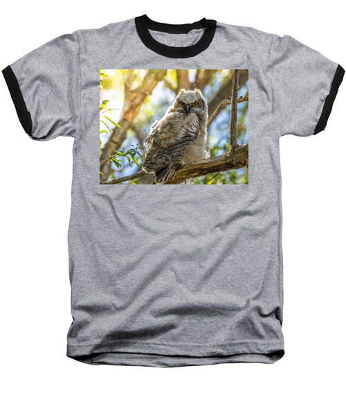 Great-horned Owlet In Spring Baseball T-Shirt by Yeates Photography