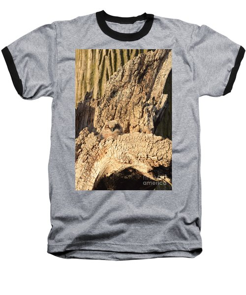 Great Horned Owlet Two Baseball T-Shirt