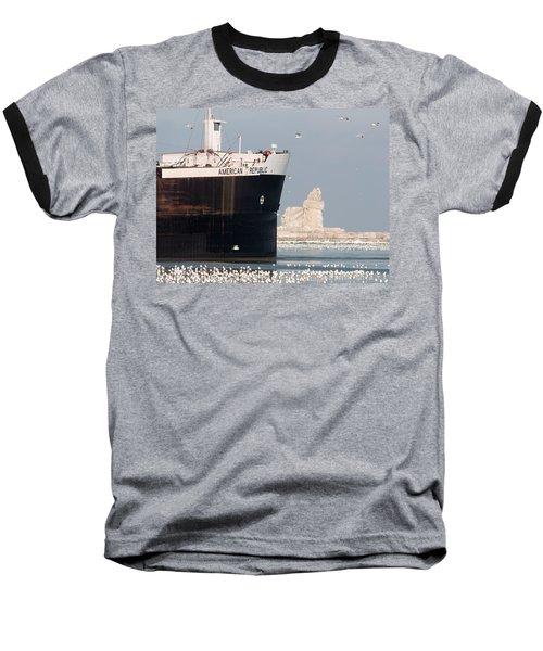 Great Lakes Ship Passing A Frozen Cleveland Lighthouse Baseball T-Shirt