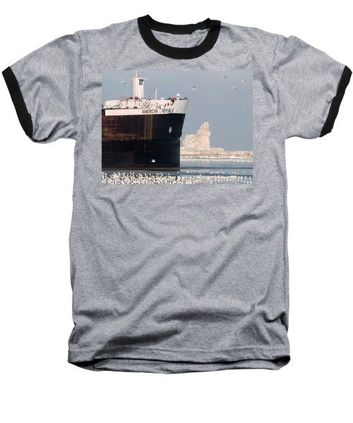 Great Lakes Ship Passing A Frozen Cleveland Lighthouse Baseball T-Shirt