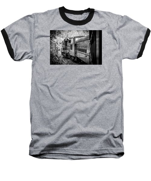 Great Smokey Mountain Railroad Looking Out At The Train In Black And White Baseball T-Shirt by Kelly Hazel