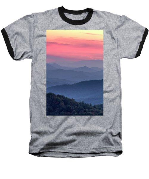 Great Smoky Mountain Sunset Baseball T-Shirt by Teri Virbickis