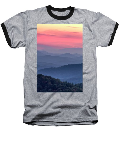 Great Smoky Mountain Sunset Baseball T-Shirt