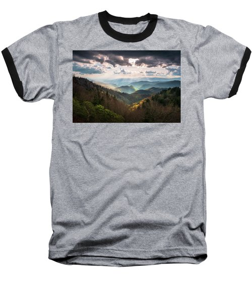 Great Smoky Mountains National Park North Carolina Scenic Landscape Baseball T-Shirt