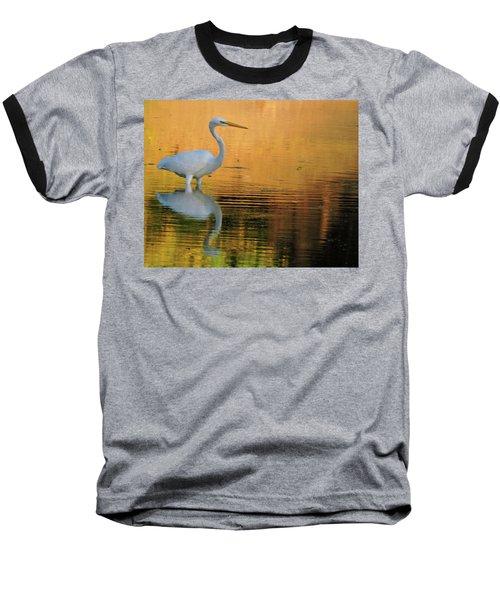 Great White On Gold Baseball T-Shirt