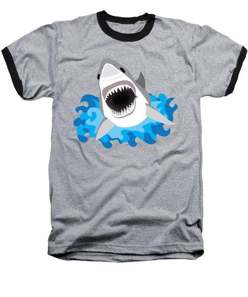 Great White Shark Leaps From Waves Baseball T-Shirt