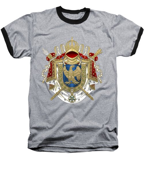 Greater Coat Of Arms Of The First French Empire Over Blue Velvet Baseball T-Shirt