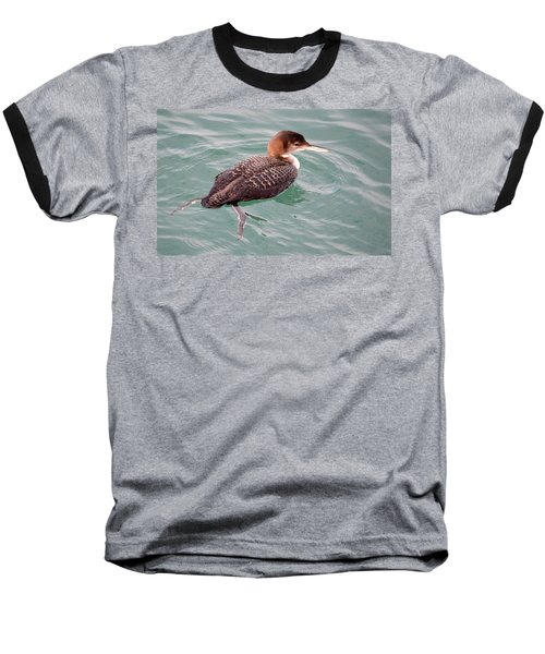 Baseball T-Shirt featuring the photograph Grebe In The Water by AJ Schibig