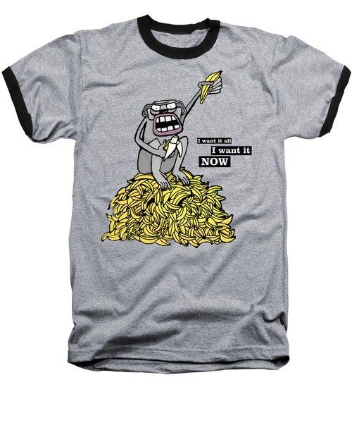 Greedy Monkey Baseball T-Shirt by Agata Lisiecka