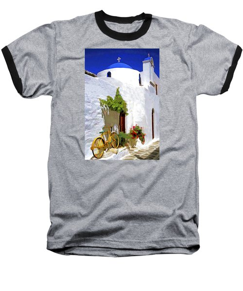 Baseball T-Shirt featuring the photograph Greek Church With Bike by Dennis Cox WorldViews