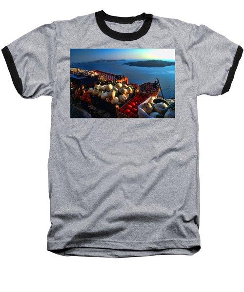 Greek Food At Santorini Baseball T-Shirt by David Smith