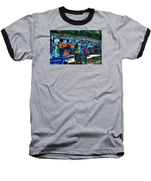 Baseball T-Shirt featuring the photograph Greek Graffiti With Garbage Bins by Richard Ortolano