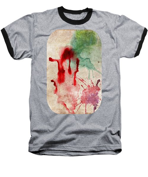 Green And Red Color Splash Baseball T-Shirt