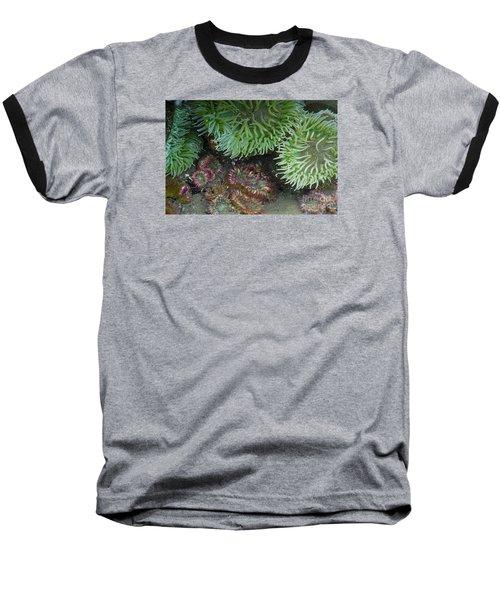 Green And Strawberry Anemonies Baseball T-Shirt