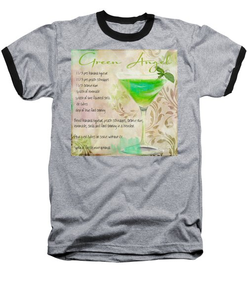 Green Angel Mixed Cocktail Recipe Sign Baseball T-Shirt by Mindy Sommers