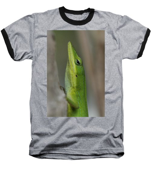 Baseball T-Shirt featuring the photograph Green Anole by Doris Potter