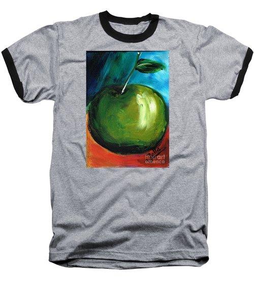 Baseball T-Shirt featuring the painting Green Apple by Jolanta Anna Karolska