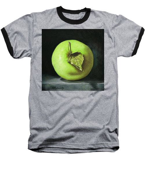 Green Apple With Leaf Baseball T-Shirt