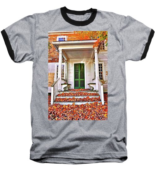 Green Autumn Door Baseball T-Shirt by Joan Reese