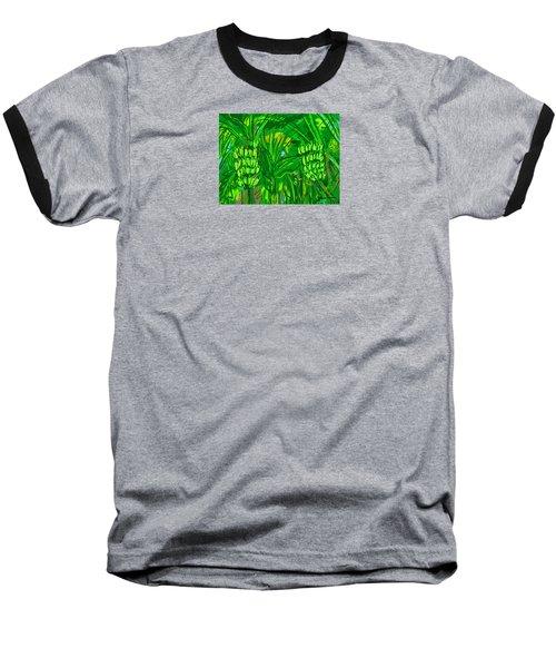 Baseball T-Shirt featuring the digital art Green Bananas by Jean Pacheco Ravinski