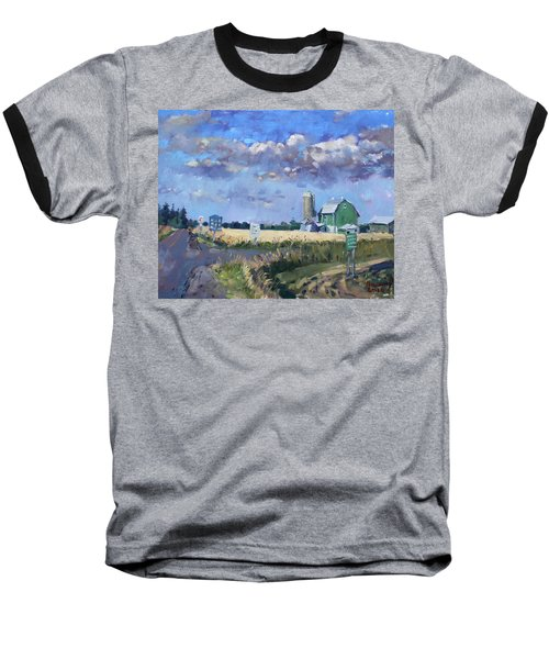 Green Barn In Glen Williams On Baseball T-Shirt