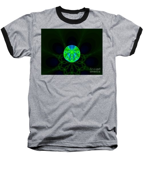 Green Blue World Fractal  Baseball T-Shirt