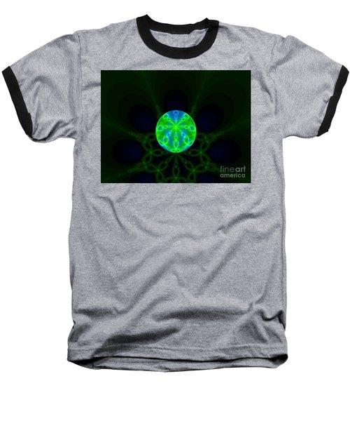 Green Blue World Fractal  Baseball T-Shirt