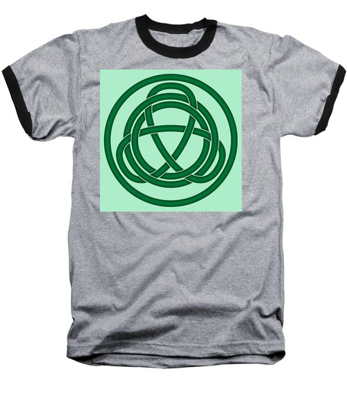 Baseball T-Shirt featuring the digital art Green Celtic Knot by Jane McIlroy