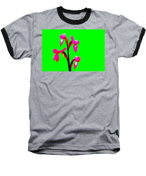Green Champagne Orchid Baseball T-Shirt by Richard Patmore